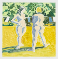 Lois Dodd, Two Nudes and Clothesline, 2004, Monoprint, 22 x 23 inches, Gift of the artist, Colby College Museum of Art.