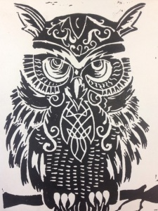 """Celtic Owl"" by Mikaela Gibbs, Block Print, Maranacook Community High School"