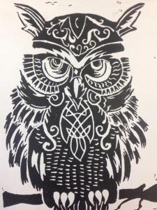 """Celtic Owl"" by Mikaela Gibbs, Block Print, Maranacook Community High School"