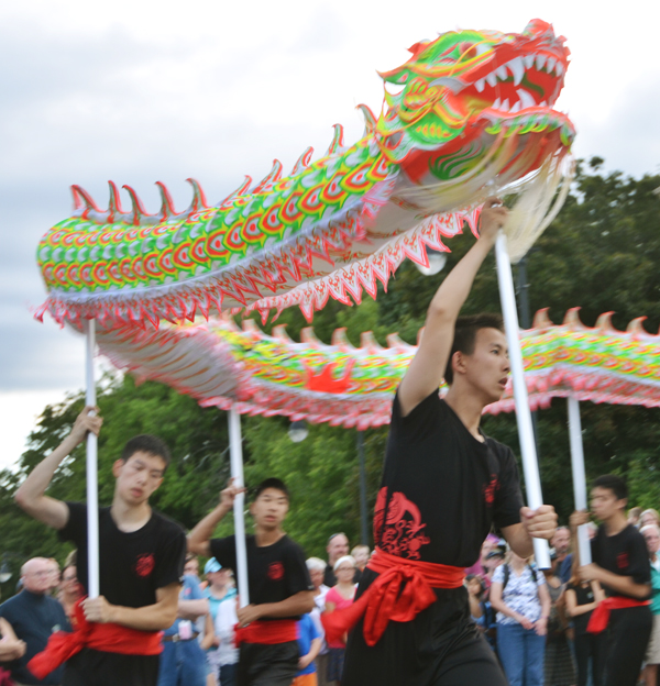 The Dragon Dance was performed at the American Folk Festival held in Bangor, Maine last August. It is a major part of Chinese New Year and will be enacted around the world today. The troupe came from Boston and mesmerized the audience. Photo by Ramona du Houx