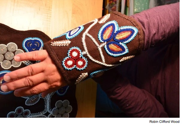 Ceremonial beaded cuffs, handmade by artist and anthropologist Jennifer Sapiel Neptune