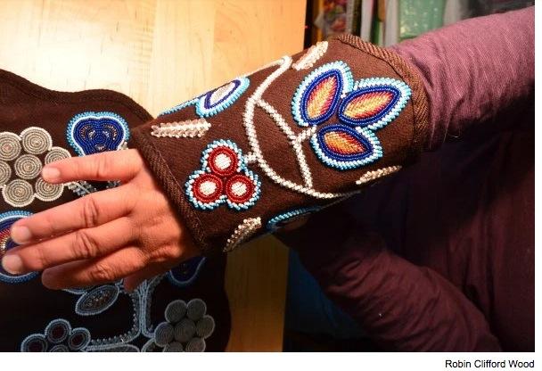 Ceremonial beaded cuffs, handmade by artist and anthropologist Jennifer Sapiel Neptune